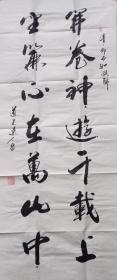 【保真】知名书法家道不远人(杨向道)草书对联:开卷神游千载上,垂帘心在万山中