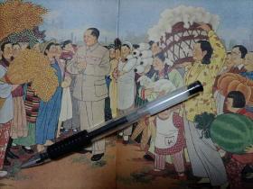 书籍中的绘画,女英雄水稻麦子棉花献给毛主席,复制