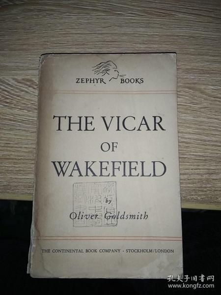 民国英文原版 THE VICAR OF WAKEFIELD 威斐克牡师传   教育部颁赠
