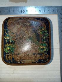 箱30,晚清俄国俄文商号牙粉铁广告盒,带宫廷供应商标志,8.7*8.7*3.5cm