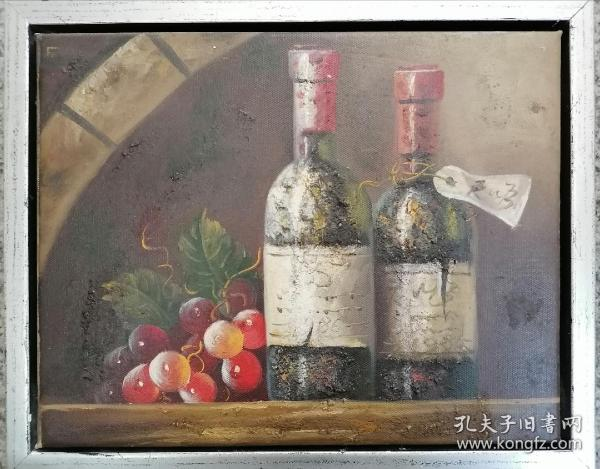 纯手绘带框餐厅小油画