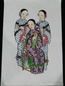 56年1版1印杨柳青木版年画-三美人