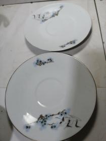 中国景德镇松鹤描金盘两只