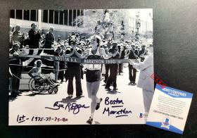 """""""马拉松传奇"""" 比尔·罗杰斯 亲笔签名并附言照片 (8×10英寸),由三大签名鉴定公司之一Beckett(BAS)鉴定"""