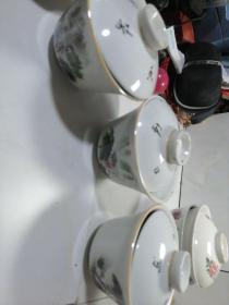 四川泸州盖碗茶杯三只