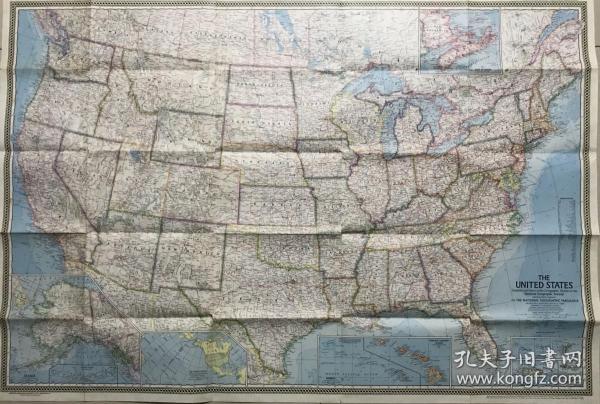 美国原版老地图 美国大地图 60年代的 包老 怀旧老地图 地形图 地貌晕染 现在不多见的老风格地图 上面详细标注美国各国家公园 山峰 峡谷 河流 冰川 火山 湖泊 海湾 重要港口 城市 上面有纽约 波士顿 费城 芝加哥 底特律 北卡罗来纳 洛杉矶 旧金山 冰川国家公园 黄石国家公园 佛罗里达 休斯敦 得州 大峡谷 亚利桑那 拉斯维加斯 火奴鲁鲁 盐湖城 阿拉斯加 夏威夷 珍珠港......地名详细