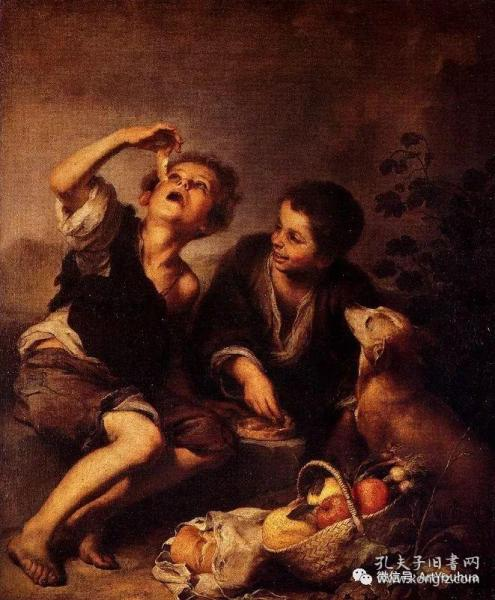 【百元包邮】《吃瓜的小男孩》(BOYS EATING MELONS)  1850年代 钢版画 纸张尺寸约27×21厘米 (货号T001526)附一网络彩图作对比和欣赏