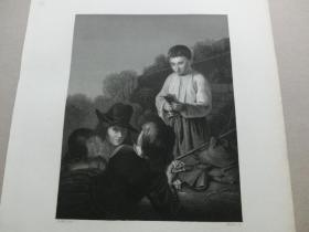 【百元包邮】《玩牌的男孩们,打扑克》(Boys Playings)  1850年代 钢版画 纸张尺寸约27×21厘米 (货号T001527)
