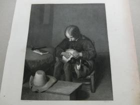 【百元包邮】《男孩和宠物狗》(Boy & Dog) 1850年代 钢版画 纸张尺寸约27×21厘米 (货号T001525)