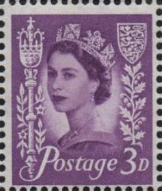 英国邮票,泽西岛1958年伊丽莎白二世女王,3d
