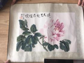 陆抑非 牡丹 浙江美术学院早期木板水印  原装旧裱  一张 画心尺寸34.5*23厘 米  包挂刷