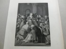 【百元包邮】《弥留之际的圣母》(The Dying Madonna)  1850年代 钢版画 纸张尺寸约27×21厘米 (货号T001533)