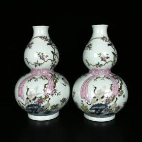 清乾隆珐琅彩描金寿桃仙鹤纹飘带葫芦瓶  尺寸高32厘米 直径20厘米