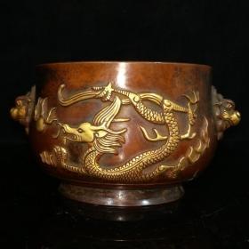 T紫铜鎏真金香炉,包浆醇厚,铸造精细,设计精妙,精美绝伦,铸工犹如行云流水,材质上乘,造型古朴,很有深意,重量3.44公斤