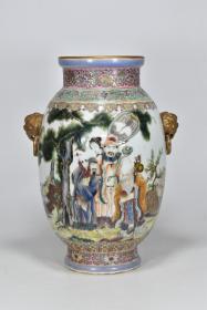 大清乾隆年制 粉彩福禄寿纹双兽瓶  高32厘米 直径23厘米