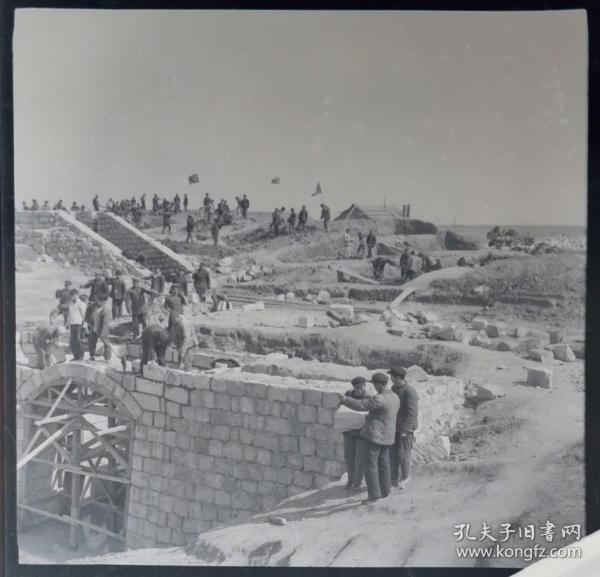 1965年全景底片两张,弋江公社修建水库全景