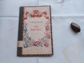 你,共青团。民国原版俄文诗集。硬精装,品相蛮漂亮。盖国立西南人民图书馆藏的钢印和章