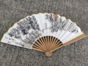 江西收购:南昌名家手绘。高士访友图 扇面,画工拙朴。