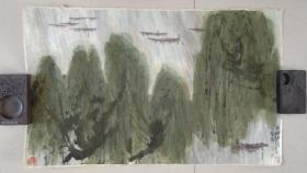 著名画家 尚连璧 先生 山水画精品《湖畔春色◆仿傅抱石笔意》