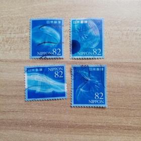 外国邮票 日本信销邮票水母4枚(乙03-6)