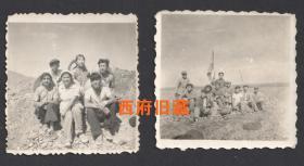 1959年,新疆少数民族地区,修建铁路工地合影老照片2张,有少数民族面孔