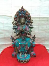 藏传,铜镶七宝财神佛