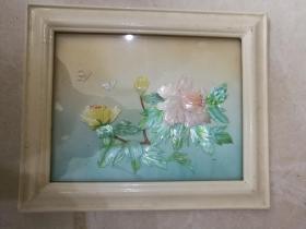贝雕画--牡丹蝴蝶