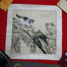 梁君X【动物画】--猫-观蝴蝶--保真手绘