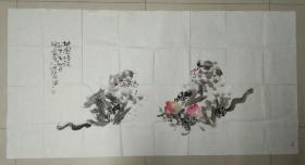 著名画家 温红兵  先生 大幅精美国画《双猿图◆桃园情话》