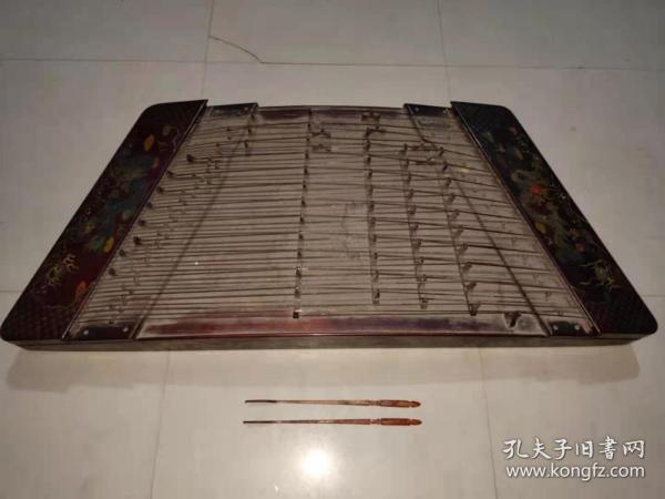 收藏木胎彩绘制作龙腾盛世漆器扬琴古琴一台