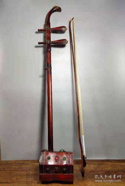 民族乐器红木镶嵌宝石老二胡一把