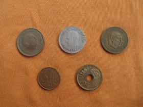 西班牙老版流通硬币5枚
