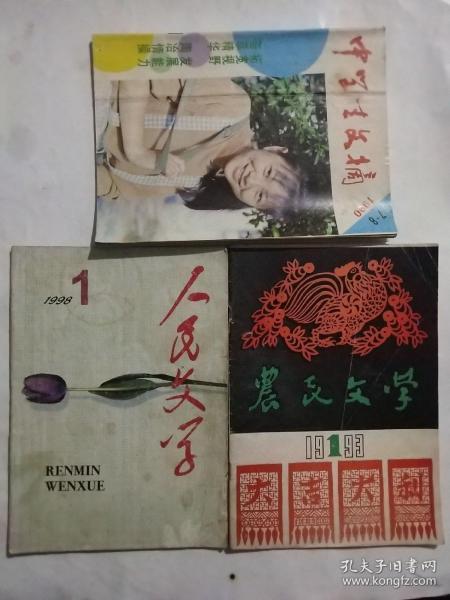 中学生文摘,农民文学 ,人民文学(90年代老杂志)  共三本