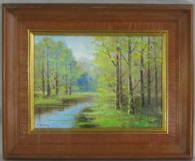 日本油画 日本昭和时期西洋画家木原悟郎 林风景图 已装裱带原框