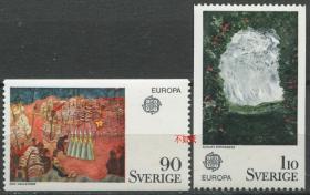 瑞典邮票 1975年 欧罗巴 斯特林堡等绘画 2全新 NE02