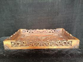 花梨浮雕龙凤呈祥托盘,保存完好品相一流。