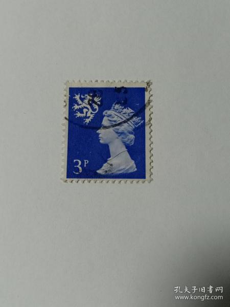 """英国邮票 苏格兰地区邮票 3p 伊丽莎白二世女王 1982年发行 女王头戴皇冠的侧面浮雕像 狮子徽章 著名的英国雕塑艺术家阿诺德•梅钦设计。伊丽莎白二世(1926年4月21日—)现任英国女王,国会最高首领,全称为""""托上帝洪恩,大不列颠及北爱尔兰联合王国以及其他领土和属地的女王、英联邦元首、基督教的保护者伊丽莎白二世""""1952年2月6日登基;1953年6月2日加冕女王 英国女王邮票 梅钦邮票"""