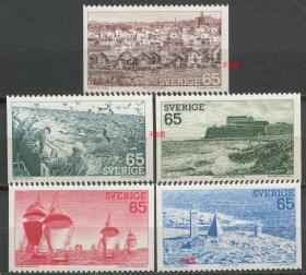 瑞典邮票 1973年 旅游风光 西海岸风景 雕刻版 5全新无胶NE02
