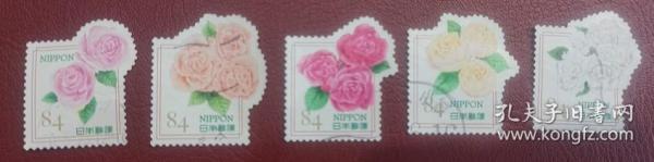 日邮·日本邮票信销·樱花目录编号  G246问候邮票  2020年 花的问候红玫瑰白玫瑰信销5枚全