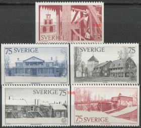 瑞典邮票 1975年 欧洲建筑遗产年 木质建筑 雕刻版 5全新无胶NE02