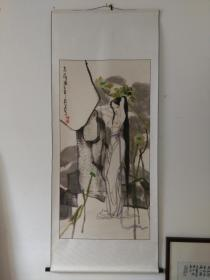 周分田国画人物精品恋荷图(参展作品),立轴八平尺,品好包快递发货。
