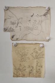 回流老字画手绘名家画稿二幅图软片D4708