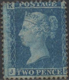 英国古典邮票,1858年蓝便士第9版JK位置,新,维多利亚女王