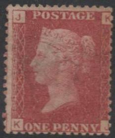 英国古典邮票,125版KJ位置红便士,新,维多利亚女王、皇冠水印