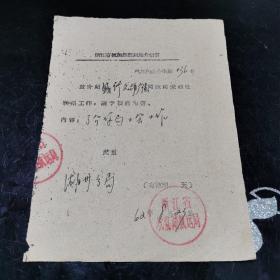 文革  浙江省杭嘉湖航运局介绍信 1962年