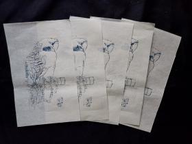 信笺木板水印旧纸5张