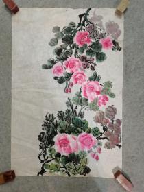 无款国画花卉 原稿手绘真迹 画心软片