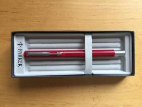 PARKER派克 簽字筆商務高檔中性筆 威雅膠桿白夾寶珠筆 活力紅  (企業定制)