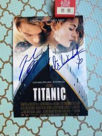 《保真》Titanic 泰坦尼克号 凯特温斯莱特 莱昂纳多迪卡普里奥签名照片
