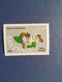外国邮票   坦桑尼亚邮票  蜜蜂(无邮戳新票)